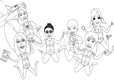 The PR Skydive Team drawn by the very talented Kimmy