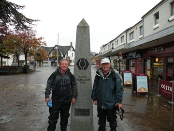 Peter and I at the Start of the West Highland Way and Great Glen Way walk in Oct 2010 - now older but no wiser.