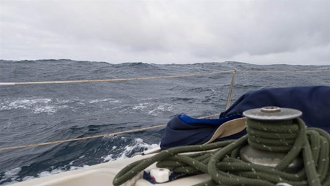Stormy seas on a 30ft yacht