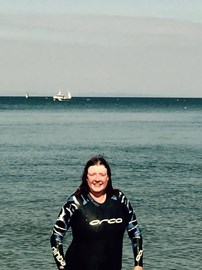 Me in a wet suit at Tenby 3 weeks before The Swim