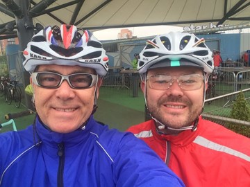 My eldest son Dave and I just before the ride at Manchester. Unusually it was raining....