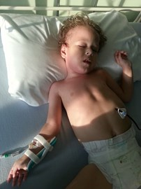 Lewis spends far more time in hospital than any child should have to endure