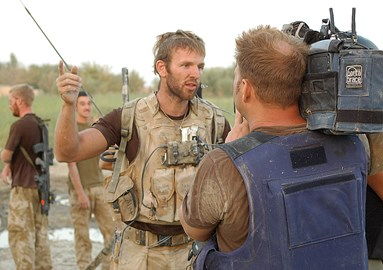 Gregg talking to Sky News in Afghanistan