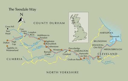 Map of Teesdale Way