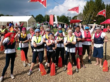 Dragon boat team getting ready for action