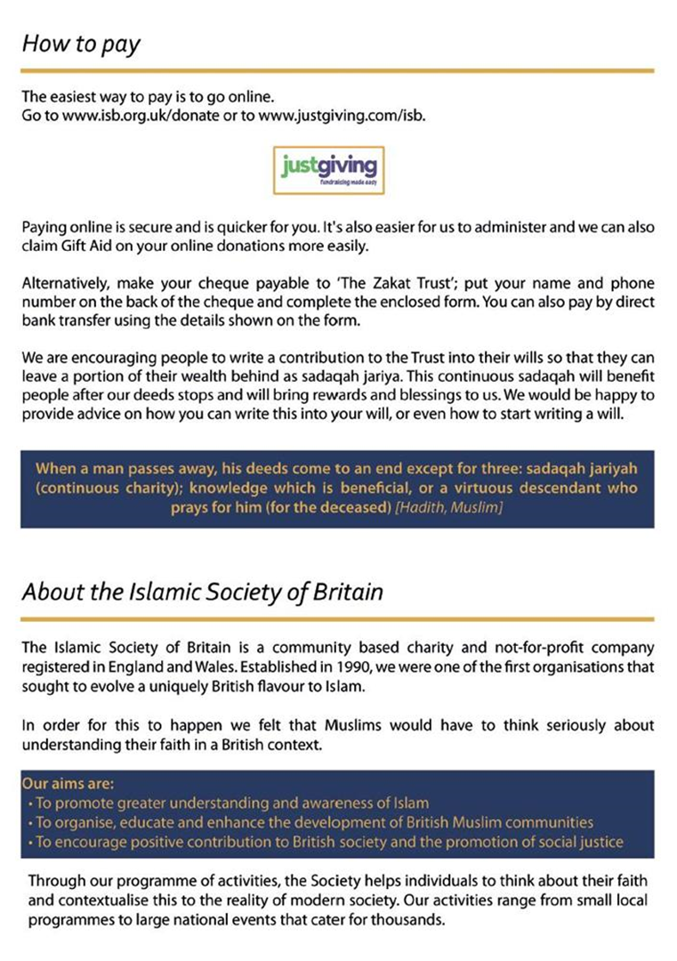 Isb islamic society of britain is fundraising for the zakat trust negle Image collections