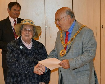 My Mother accepting an award from the Mayor of Bishops Waltham