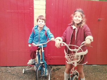 Our first bikes (sister Catherine)