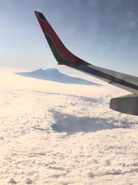View of Kilimanjaro from aeroplane before landing