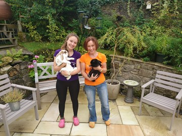 Hazel & Holly-Aobh with 2 of the foster bunnies!