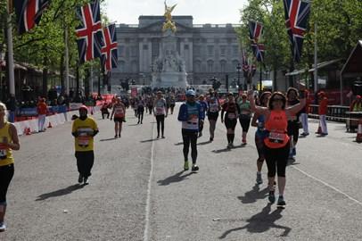 Pat finishing the London marathon