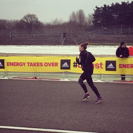Near the finish line of the Adidas Silverstone Half Marathon