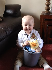 Alfie with his Chemo Duck