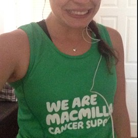 Out running in my new Macmillan vest :)