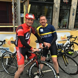 At the start with Chris Boardman, Ex Pro Cyclist.