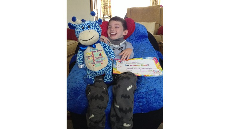 Louis with his  Be Brave Bear x