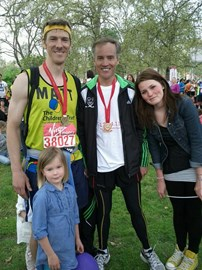 At the finish with Adrian, Elanor, Lucy