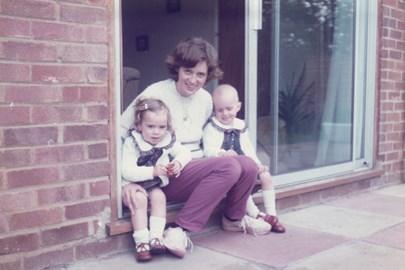 Mum, Saz & I 1983 - no hair!