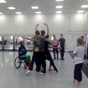 Ballet Cymru Associate Director Marc Brew in the studio with the Company dancers