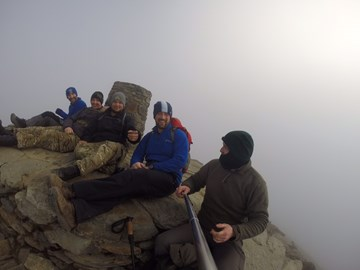 Team training going well, a well earned photo at the top of Snowdon after a cloud covered ascent on Sunday the 19th of April. Just got to manage all 3 in 1 day now!
