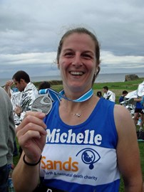At the finish of Great North Run in 2011