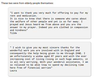 Letters of thanks from pensioners in Zimbabwe