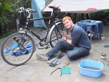 Working on the bike. One week to go!