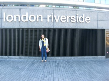 Me studying abroad in 2011-12 by the London Riverside sign!
