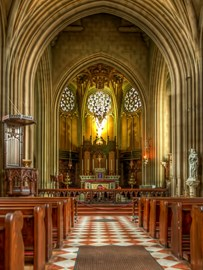 A rare view of the interior of St. Michael's Abbey in Farnborough (from the Flickr account of Anguskirk)