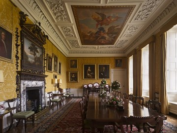 The dining room at Hanbury Hall