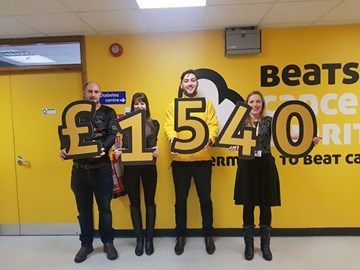 Presenting 2017's fundraising total to the Beatson