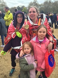 5hs and 32, long and very special, minutes after the marathon started. Celebrating finishing with my sister and two lovely girls; Hayley and Lucy.