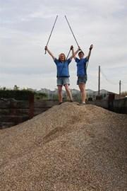 Lorraine & Liz climb the gravel mountain