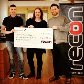 Philip Hamill, MD of RECON handed over a cheque to Emma Donahue and Nick Weymouth from Mercury Phoenix Trust of £16,035 raised by RECON members last year!