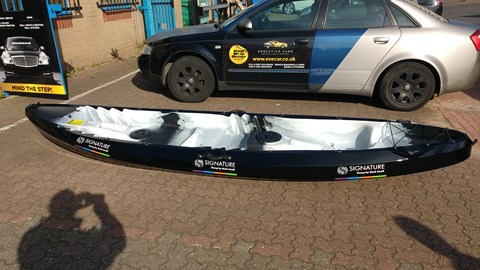 second kayak sponspored by Mark Small Group based in Whitley and surrounding area