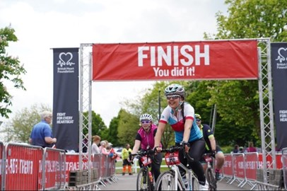 Cotswold Bike Ride - crossing the finish line
