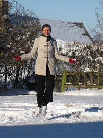 Me skipping in the snow on Christmas Day