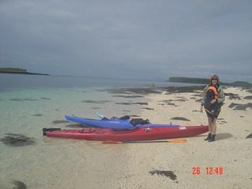 Training paddle in single kayak