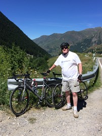 In training in the Pyrenees - still with a big belly though!