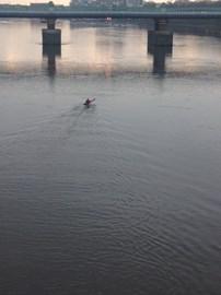 Putney Railway bridge, dawn after 21 hours of paddling