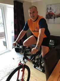 Andy putting in some training at home!