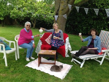 Enjoying our cream tea before the crowds arrived.