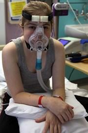 Jess on her Non-invasive ventilator.