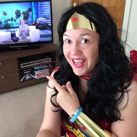 WonderWoman watching Ellen