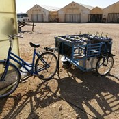 Portable hydroponics demonstration on the back of a bike to educate the thousands