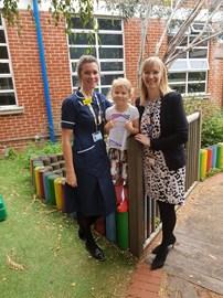 Tilly with Nurse Kristy & Dr Leigh