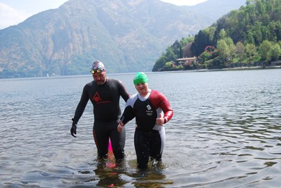 Training for the swim on holiday, with my mate Aaron.  Lake Como, Italy.
