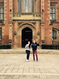 Here we are at the front doors of QUB