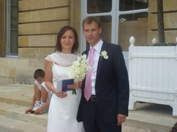 Assunta and Fabrice on their wedding day