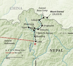 Map of our route to Base Camp!